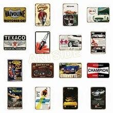 Жестяная вывеска 20*30 см Ретро Corvette Texaco моторное масло газ масло Авто Магазин папа с гаражной тематикой металлический декор