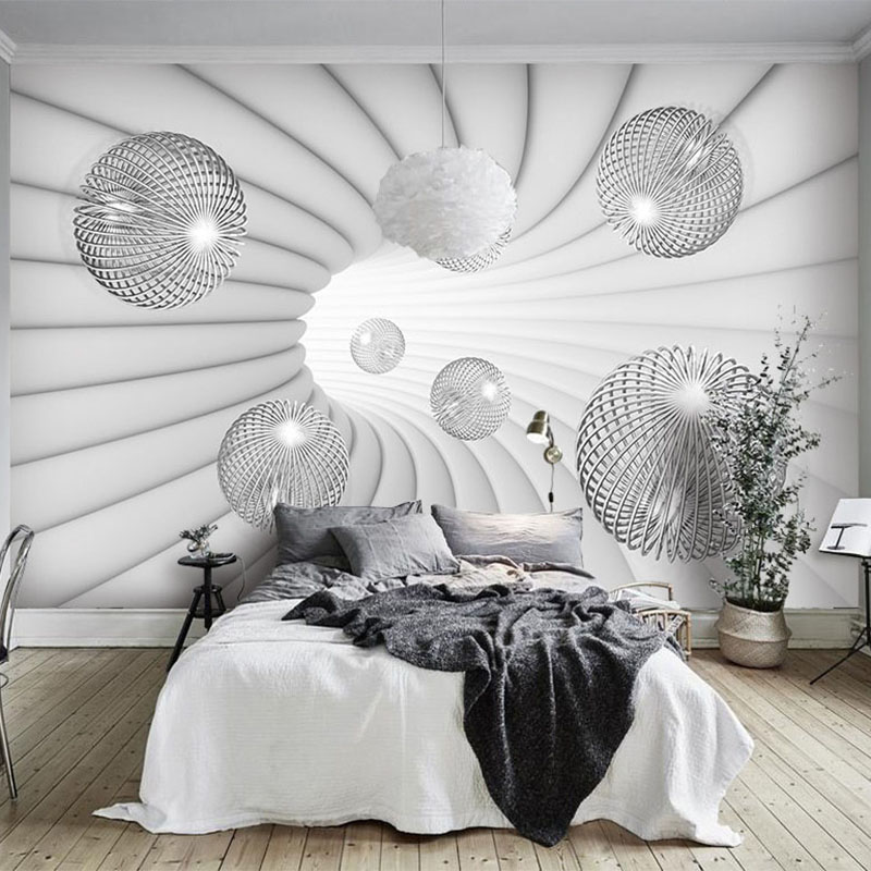 Modern 3D Stereoscopic Ball Mural Wallpaper Living Room Study Background Wall Painting Space Extension Wall Papers For Wall 3 D