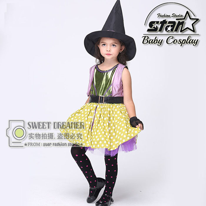 Halloween Children Baby Girl Witches Dress Cosplay Costumes Kids Masquerade Party Performance Dress With Hat and Gloves