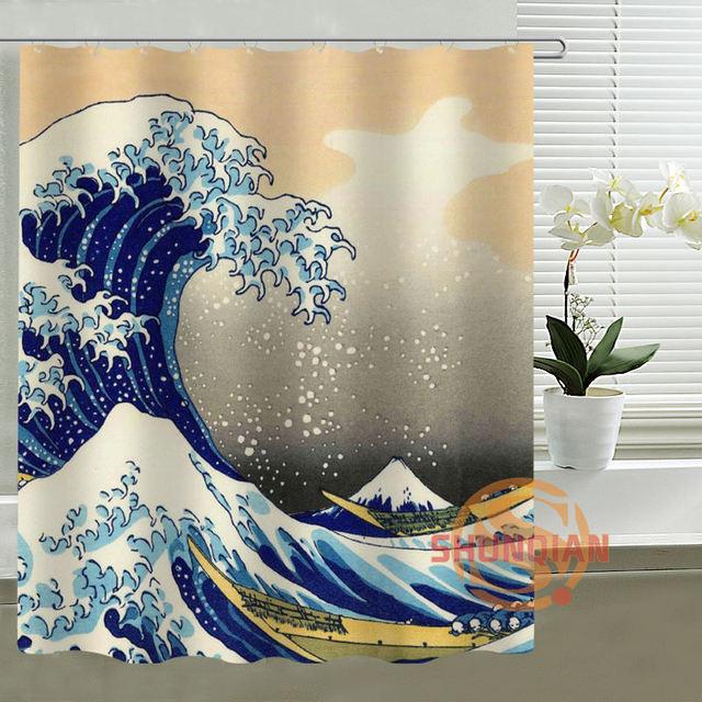Custom Shower Curtain AXD Great Wave Off Kangawa By Hokusai Waterproof Fabric Curtains For Bathroom