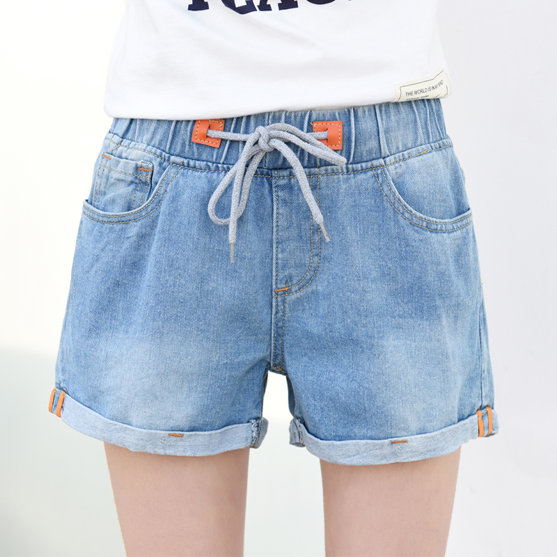 Plus Size Summer Vintage Shorts Women Elastic Waist High Waist Shorts Holes Jeans Korean Style Summer Denim Short Feminino