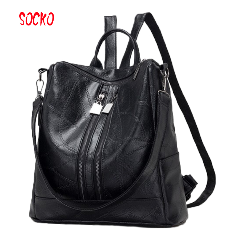 2017 New high quailty fashion PU Leather women shoulder bags lady rucksacks girls casual backpack ZL31