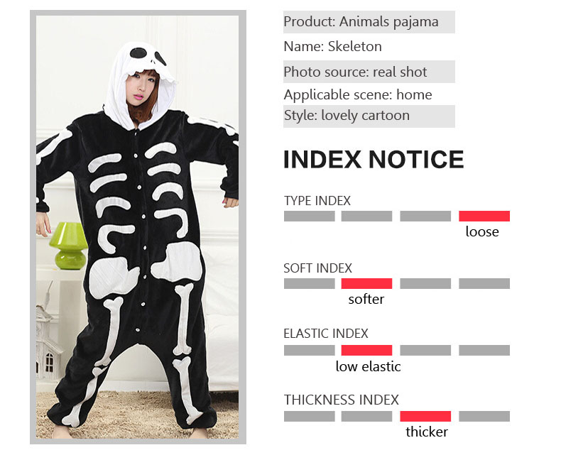 Skull Kigurumi Onesie Adult Women Scary Skeleton Pajamas Flannel Warm Loose  Soft Sleepwear Onepiece Winter Jumpsuit Cosplay