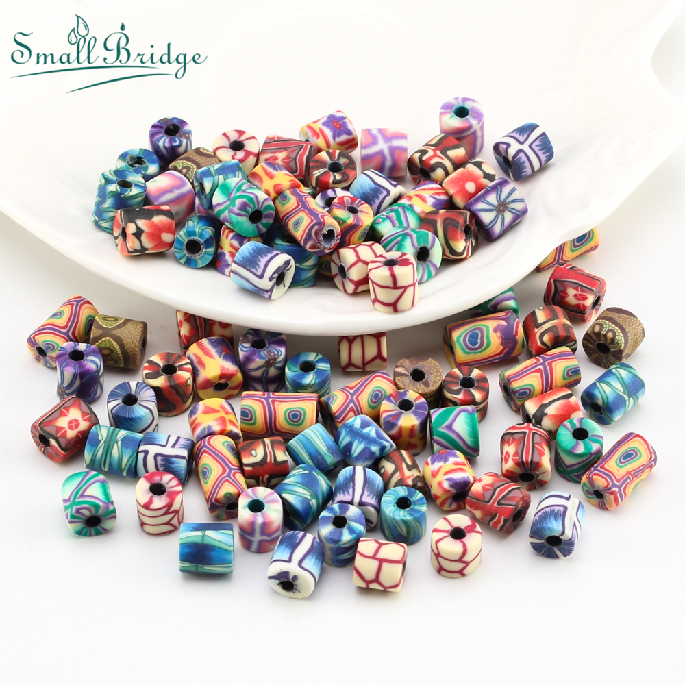 Various Patterned Polymer Clay Beads Fit Kids Making Jewelry Needlework Matterials Crafts Accounts Loose Soft Pottery C003