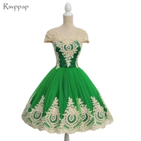 Cute Cap Sleeve A line Sweet 16 Graduation Dresses For 8th Grade Gold Lace Green Tulle Short Homecoming Dress 2018