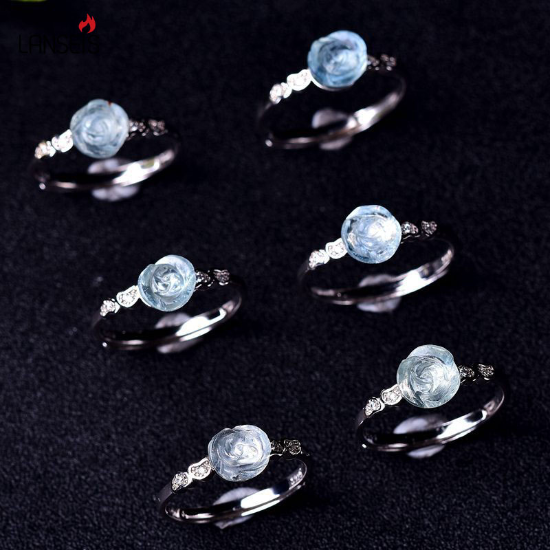 925 Silver Ring With Nuture Aquamarine Crystal, Charms Rose Generous Ring, 1Pcs Crystal Ring 2018 Fashion Jewelry Ring For Women