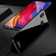 Tempered Glass Case for Xiaomi MI 8 Mi8 Hybrid Hard PC Soft TPU Mirror Surface Back Cover xiaomi