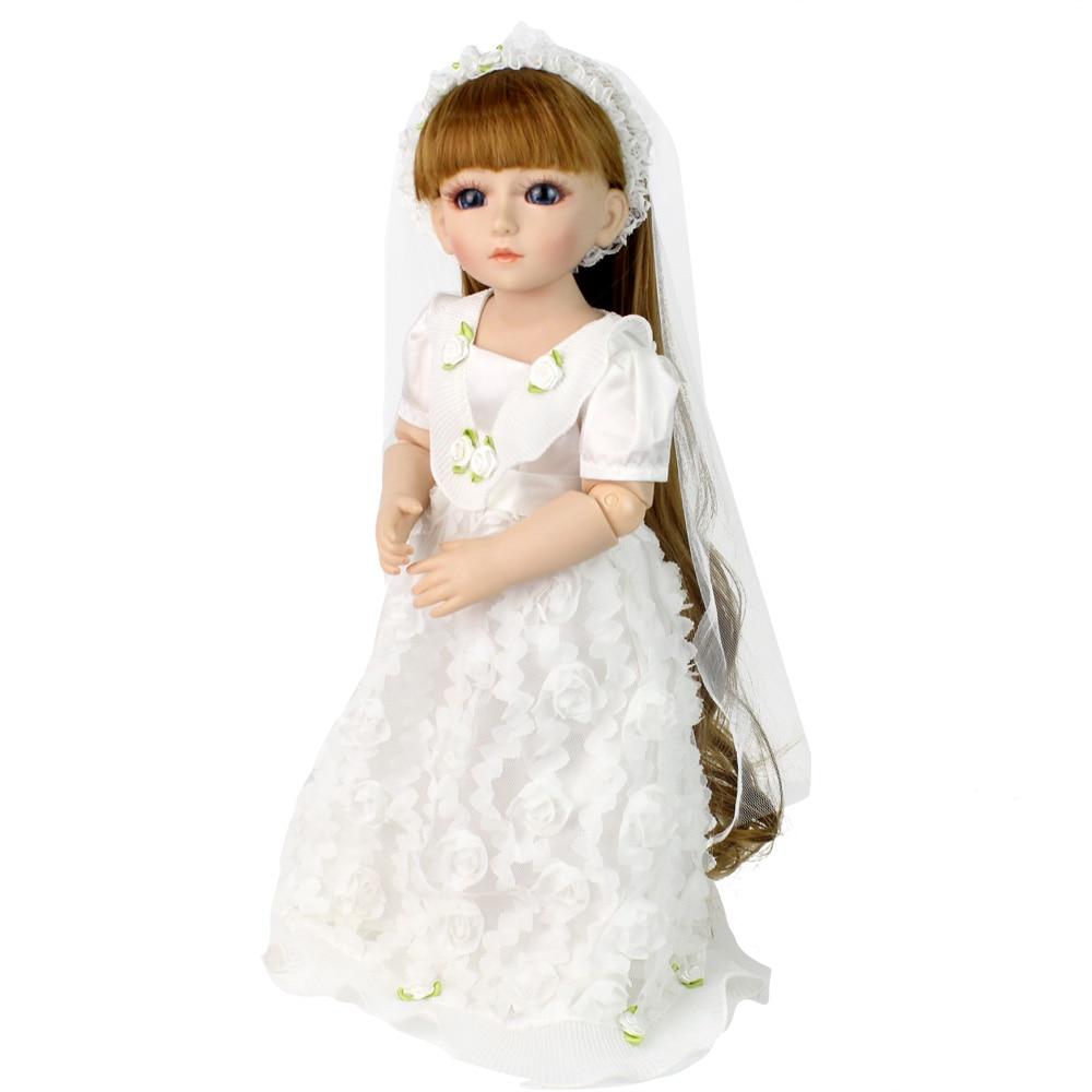 где купить Bjd Doll Fashion  Marry Wedding Bride Doll Long Hair White Clothes Kid's Toys Christmas Gifts Toys по лучшей цене