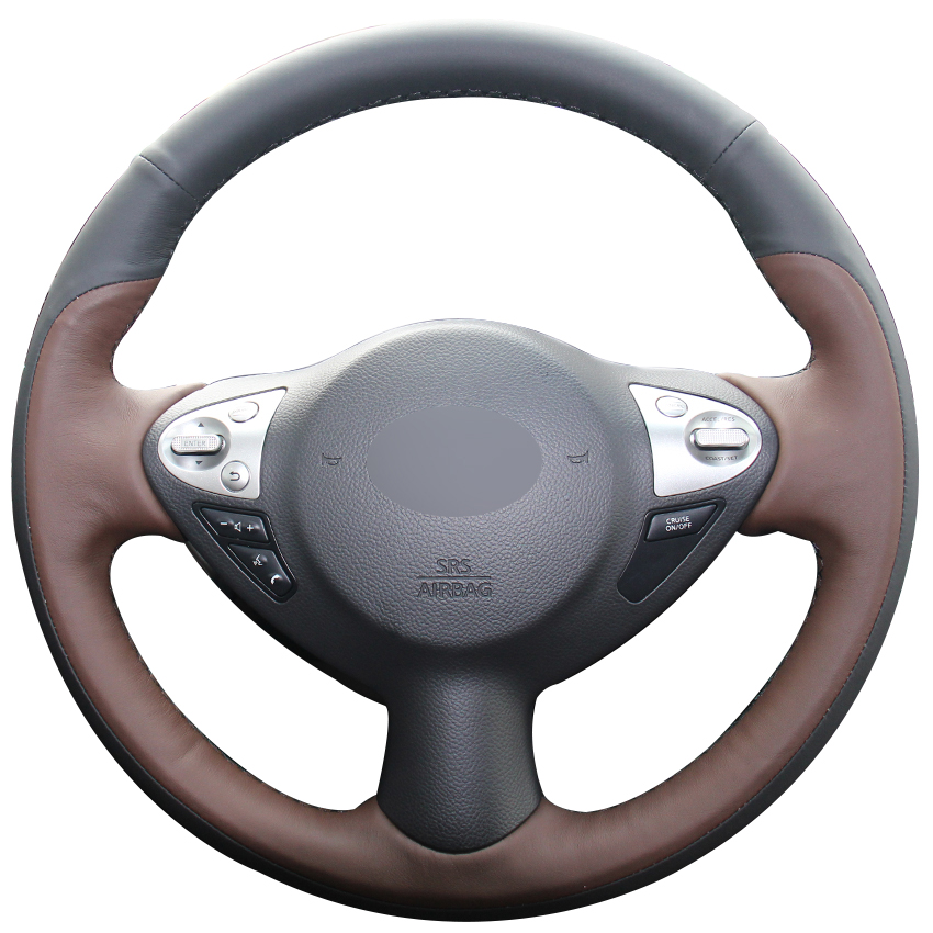 Black Coffee Natural Leather Steering Wheel Cover for Infiniti FX FX35 FX37 FX50 Nissan Juke Maxima