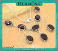 Charm Silver 925 Vintage Elegant Purple Amethyst Women Trendy Necklace Earring Fashion Jewelry Sets Freeshipping GM1279