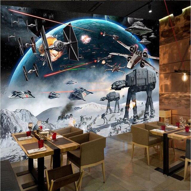 8d Papel Murals Star War Universe Space Airship 3d Wallpaper For Kids Room Bar Coffee