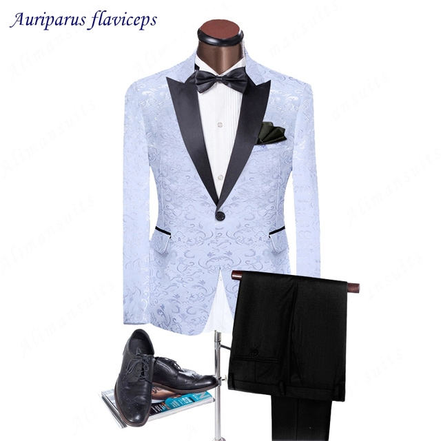 2018 White Jacket With Black Satin Lapel Groom Tuxedos Groomsmen Best Man Suit Mens Wedding Suits