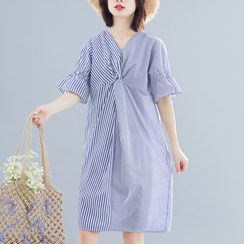 #<font><b>0562</b></font> Summer Big Size Dress 2019 Striped Irregular Spliced Ruffles Short Sleeve V-neck Midi Dresses Ladies Casual Loose Cotton image