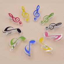 5pcs Musical symbols shape Piano Scores Folders File Storage snack bag clips Clothes Pin Photo Paper Peg Clothespin Craft Clip(China)