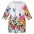 Conjunto de roupas crianças crianças menina roupas 2015 meninas define marca maquineta floral crianças agasalho (jacket + dress) meninas conjuntos de roupas