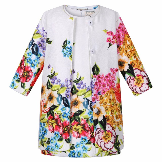 Niños ropa de los cabritos de la muchacha ropa 2015 niñas establece marca dobby floral niños chándal (jacket + dress) niñas sistemas de la ropa