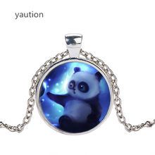 Anime Style Cute Panda Glass Pendant Chocker Necklace Women Panda Animal High Quality Children and girls gifts(China)
