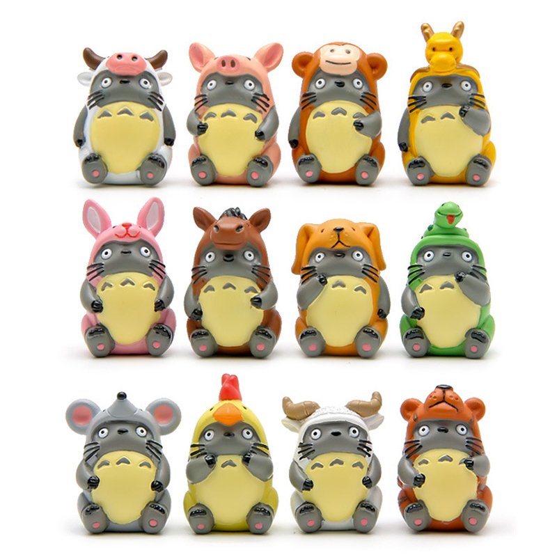 1pcs DIY Studio Ghibli Hayao Miyazaki Anime My Neighbor Totoro Zodiac PVC Action Figure Toys Collection Model Toy Gifts for Kids anime cartoon lovely my neighbor totoro pvc action figures collectible model dolls toys kids gifts kt475 href
