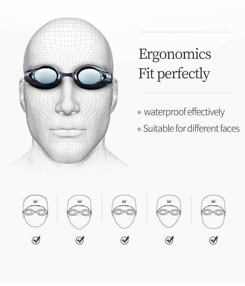 Unisex Professional Myopia Silicone Swimming Pool Glasses Anti Fog Waterproof 15