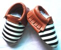 wholesale factory striped baby boys shoes Genuine Leather Baby Moccasins Girl Shoes Tassel Bebe soft sole Infant Shoes Slippers