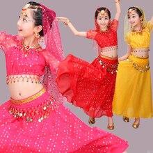 Детский костюм для танца живота с блестками для девочек, 3 шт., индийское танцевальное платье Болливуда, одежда для восточных танцев, Бальные, сценические, вечерние, для танцев