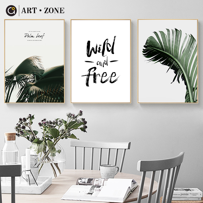 ART ZONE Wild And Free Letters Nordic Canvas Painting Natural Photo Modern Wall Art For Living Room Bedroom Simple Posters