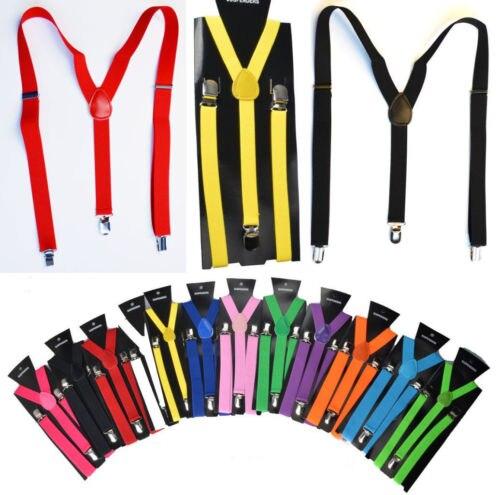Hirigin 8 Colors Braces Suspenders Adjustable Slim Unisex Men Ladies Trouser Fancy Dress Clip On