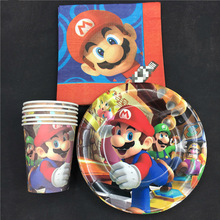Mario theme 16pcs cups+16pcs plates+16pcs napkins for kids birthday party Tableset decoration Mario favors цены