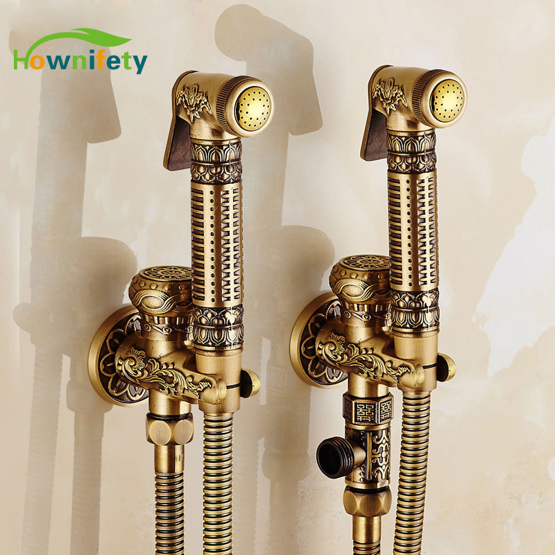 Wholesale and Retail Solid Brass Bathroom Bidet Faucet Wall Mount Mixer Tap Antique Brass