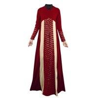Lady Lace Stitching Long Sleeve Party Full Length Dress Fashion Abaya Islamic Muslim Dresses