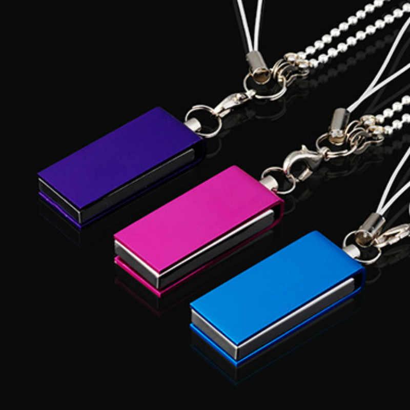 هدية على شكل عصا دوارة معدنية صغيرة ومحرك فلاش USB سعة 1 جيجا بايت و2 جيجا بايت هدية عليها شعار مخصص تصميم منقوش على الكلمات بالليزر هدية بنمط مطبوع