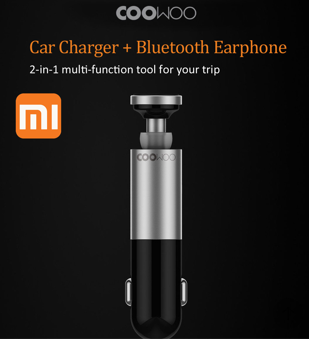 Xiaomi and CooWoo Aluminium Alloy Bluetooth Handfree Call Headset and Car Charger 2 In 1 Best