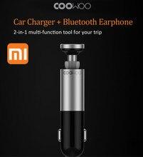 Xiaomi и coowoo алюминиевый сплав Bluetooth Handfree вызова гарнитуры и автомобиля Зарядное устройство 2 в 1 Best инновации наушники для автомобиля диск