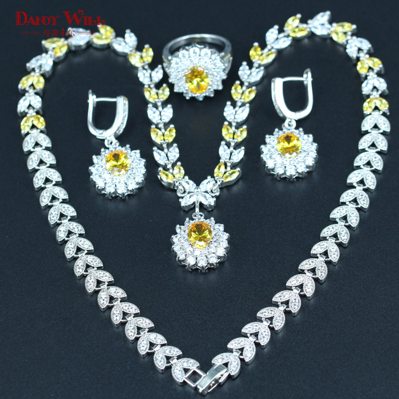 DANDY WILL Superb Yellow Zircon Bridal Jewelry Set For Women Wedding Silver color Pendant/Necklace/Earrings/Ring
