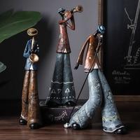 Creative Figure Art Music Rock Band Resin Statue Fun Retro Musician Home Decoration Saxophone Guitar Singer Sculpture