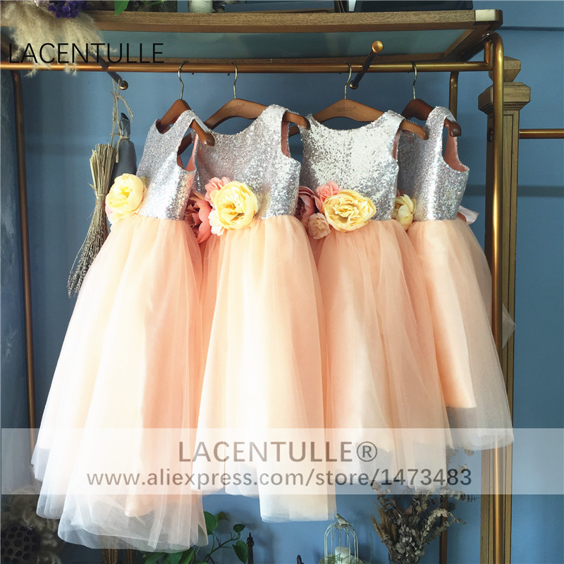 Sleeveless Tulle Sequin Bodice   Flower     Girl     Dress   with   Flowers
