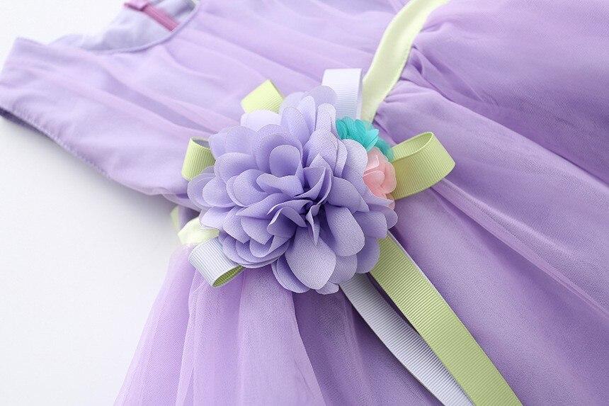 VIMIKID 17 New Girls tutu dress + belt flowers gauze children princess vest dress Girls lace dress kids clothes pink purple 18