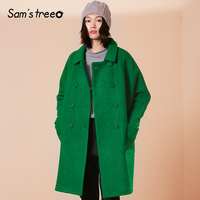 Samstree 51.1% Wool Coat Winter Women Double Breasted Turn down Collar Coat Korean Style Female Loose long Outwear Oversize