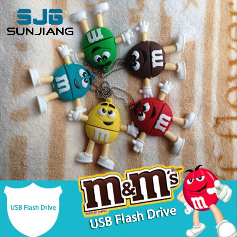Chocolat M & M stylo lecteur USB Flash lecteur 4GB 8gb 16gb 32gb 64g USB Stick mémoire Pendrive U disque créatif beau plaisir cadeau offre spéciale