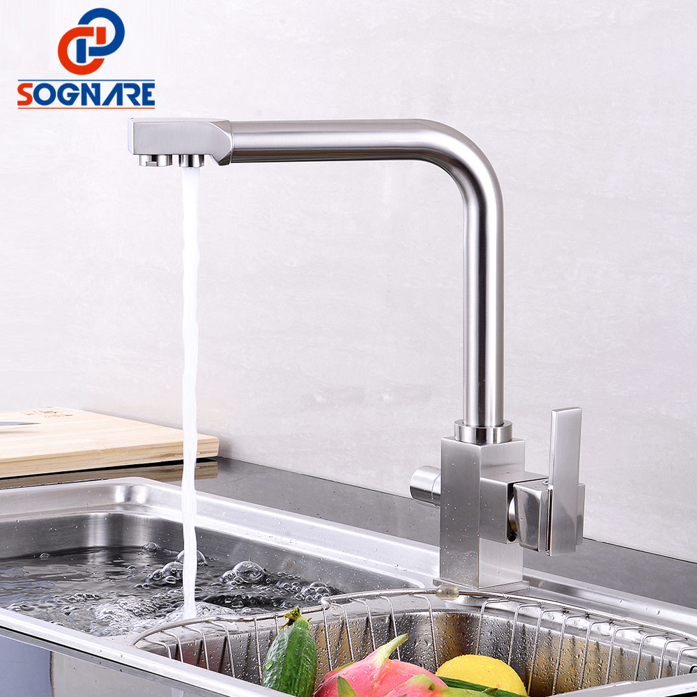 SOGNARE Drinking Water Filter Faucet Nickel Brushed Square Water ...