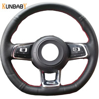 KUNBABY Car Styling Black Genuine Leather Car Steering Wheel Cover for Volkswagen Golf 7 Golf R MK7 VW Polo Scirocco 2015 2016