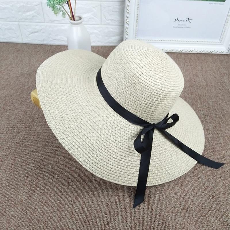Summer Travel Beach Hats Wild Ride Straw Hat Big Bowknot Ribbon Straw Cap Ladies UV Protection Sun Caps