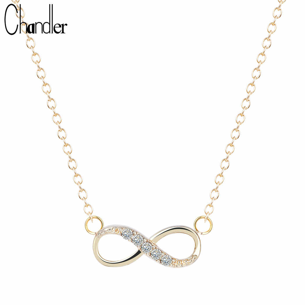 Chandler Silver Love Plated Number 8 Endless CZ Necklace & Pendant For Women Forever Eternal Friendship Infinity Fashion Jewelry