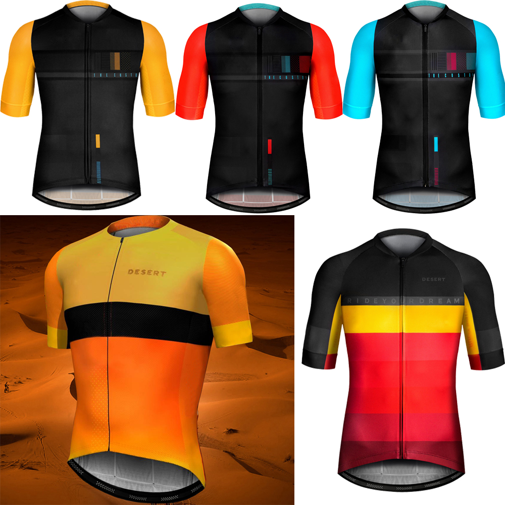 Clothing Bicycle-Wear Bike Team Desert-Spain Road-Mountain-Race-Tops Yellow Breathable
