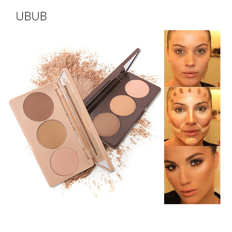 UBUB Mineral Bronzer Highlighter Matte Brighten Face Contouring Grooming Dark Skin Pressed Powder 3 Colors Concealer Base Makeup цена 2017