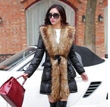 Free shipping Europe latest  Winter fashion women Thickening super warm Heavy hair collar down jacket Elegant slim coat  d-o174