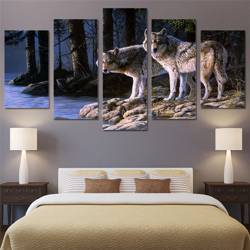 Hd printed 5 piece canvas art wild animal two wolves for 10x20 living room