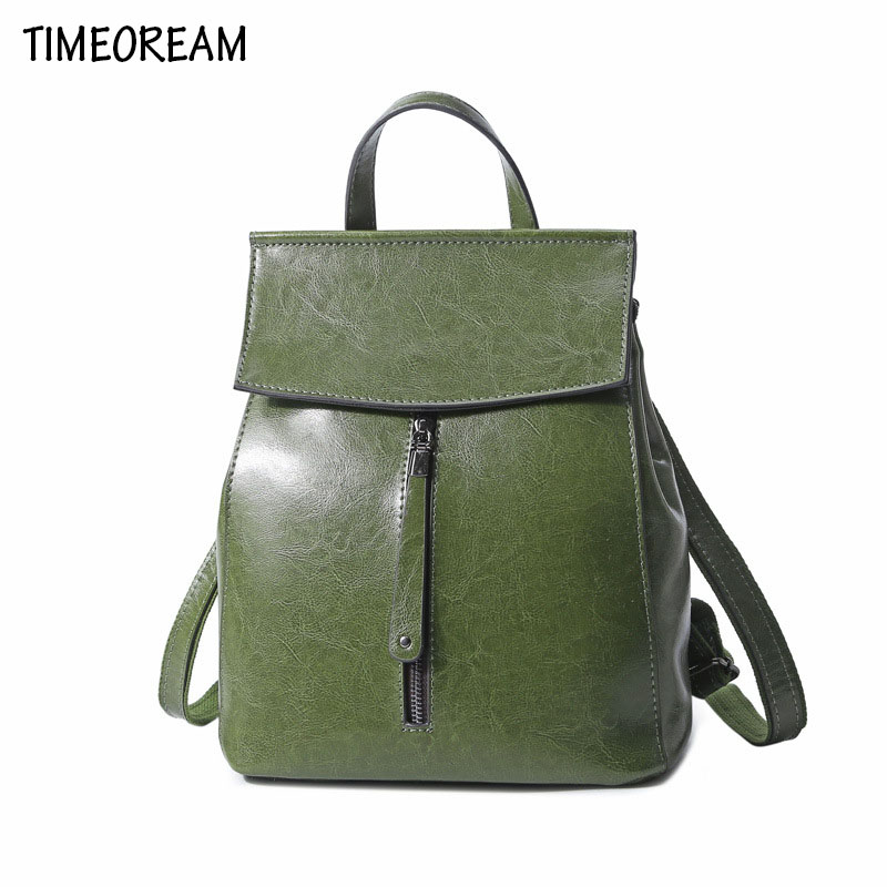 TIMEOREAM2018 Classic Retro Oil Wax Leather Backpack Leather Luxury Women Design New Korean Fashion Leather Shoulder Bag 247 classic leather