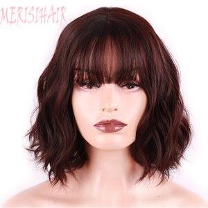 Image 3 - Merisi 머리 합성 머리 갈색 8 색 짧은 물 웨이브 가발 화이트/블랙 여성 내열성 섬유 매일 전체 거짓 머리