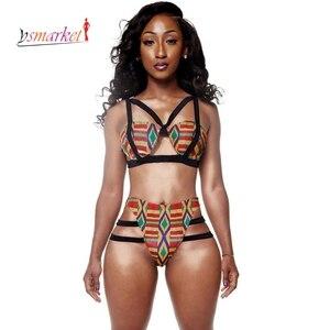 African Print Swimsuit Women 2018 African Print Inspired Bikini Set women strappy Bathing Suit ethic print African Swimwear XL